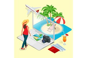 Modern vector concept of traveling, booking online