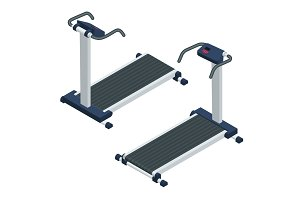 Treadmill isometric vector illustration. Treadmill isolated on w
