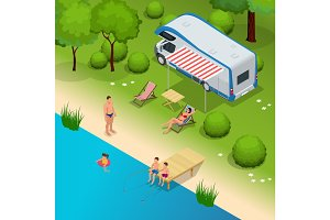 RV camper in camping, family vacation travel