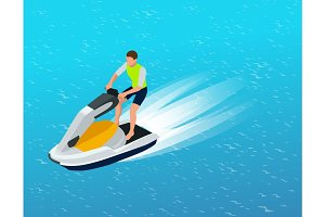 Young Man on Jet Ski, Tropical Ocean.