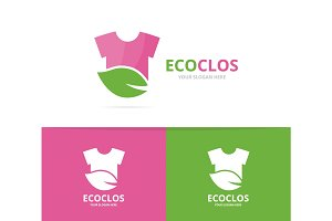 Vector of cloth and leaf logo combination. Shirt and eco symbol or icon. Unique fashion and organic logotype design template.