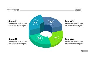 3d donut chart with four groups template