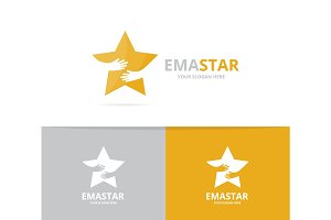 Vector star and hands logo combination. Leader and embrace symbol or icon. Unique team and friendship logotype design template.