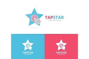Vector star and click logo combination. Leader and cursor embrace symbol or icon. Unique digital and team logotype design template.