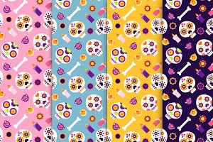 Shugar Skulls Seamless Pattern Set