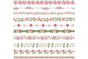 Pink flower border, floral divider