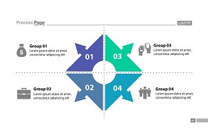 Four group process chart slide template