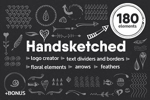 Handsketched elements, logo creator