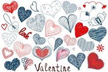 Hand Drawn Valentine Decoration Set