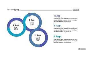 Three step process chart slide template