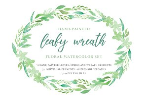 Leafy Wreath Watercolor Elements Set