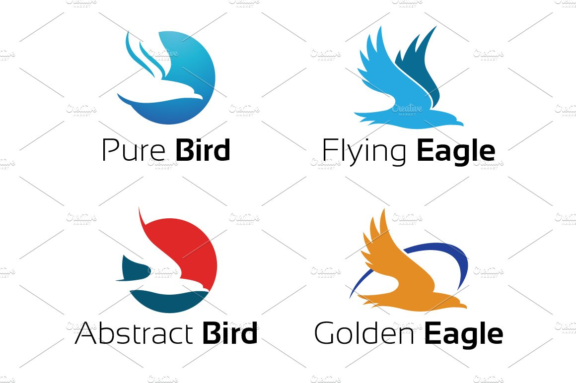 4 Simple Hawk Eagle Logo Symbol Logo Templates Creative Market