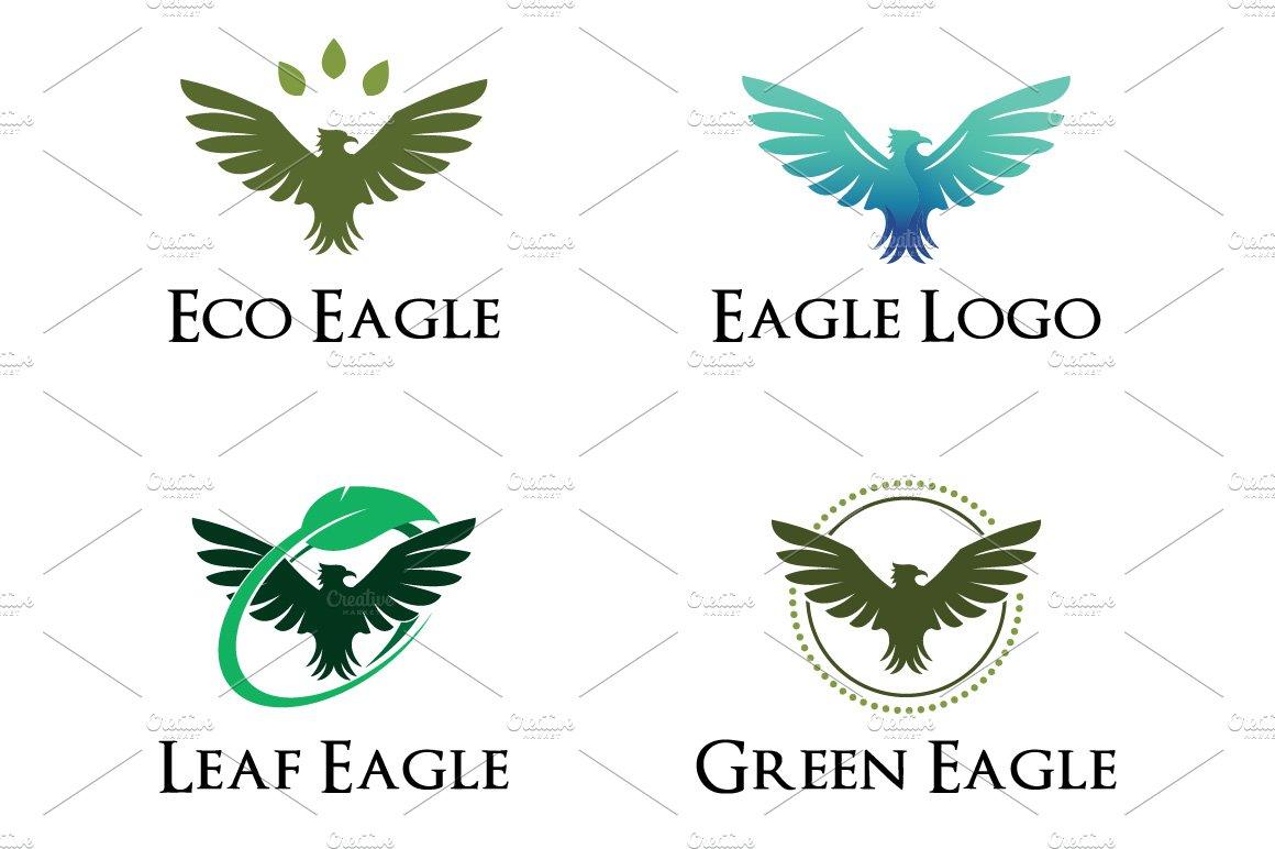 4 Eagle Hawk Green Leaf Ecology Logo Logo Templates Creative Market