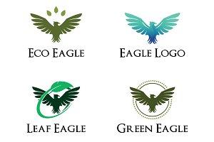 4 Eagle Hawk Green Leaf Ecology Logo