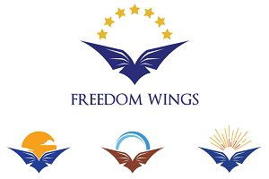 4 Eagle Bird Wings in Nature Logo