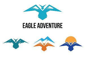 4 Eagle Bird Wings in Mountain Logo