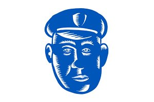 Police Officer Head Woodcut