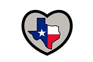 Texas Flag Map Inside Heart Icon