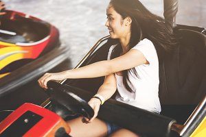 Girl in a theme park