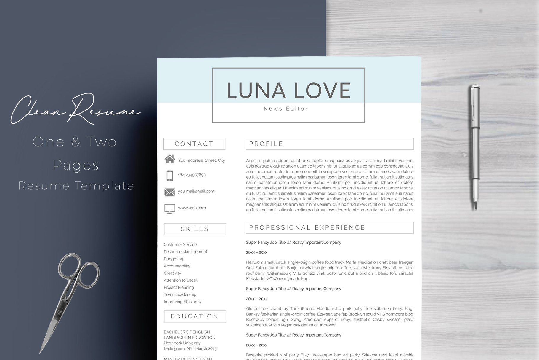 Clean Resume Template 4 Pages - Resume Templates | Creative Market Pro
