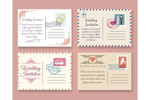 Vintage wedding postcard templates