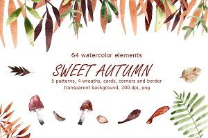 Sweet Autumn - Watercolor Clip Art
