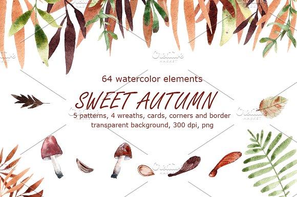 Sweet Autumn - Watercolor Clip Art