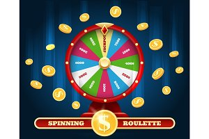 Jackpot lucky wheel and winner money rain