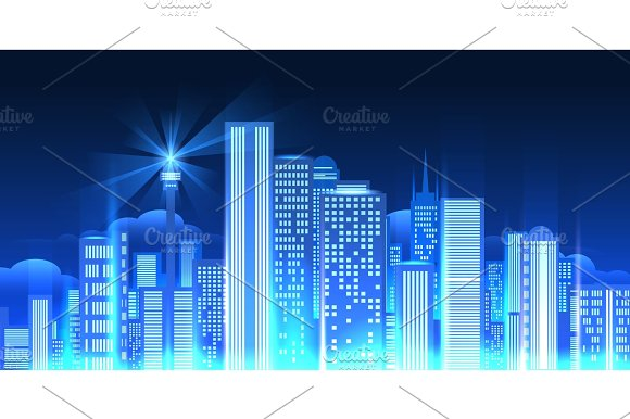 Night city lights panorama.