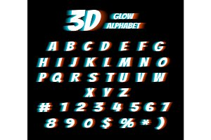 Cinema glasses 3d film effect alphabet