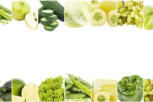 Background from different green vegetables and fruits, isolated on white