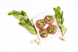 Raw food, beef cutlet