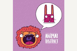 Animal instinct from lion to rabbit