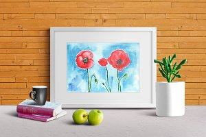 Red poppies. Watercolor painting.
