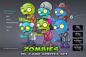 6- Zombies Game Character Sprites