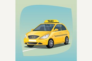 Isolated yellow taxi car