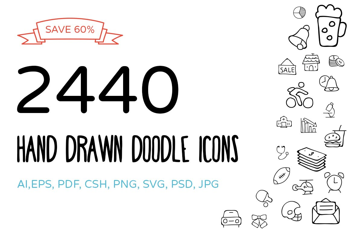 2440 Hand Drawn Doodle Icons Bundle Creative Market
