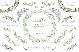 Watercolor wreaths and branches