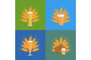Beer Glasses with Wheat Vector Illustration