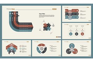 Six Marketing Charts Slide Templates Set