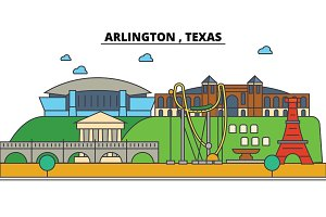 Arlington,Texas. City skyline architecture, buildings, streets, silhouette, landscape, panorama, landmarks. Editable strokes. Flat design line vector illustration concept. Isolated icons