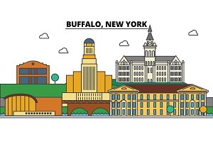 Buffalo,New York. City skyline architecture, buildings, streets, silhouette, landscape, panorama, landmarks. Editable strokes. Flat design line vector illustration concept. Isolated icons