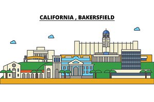 California, Bakersfield. City skyline architecture, buildings, streets, silhouette, landscape, panorama, landmarks. Editable strokes. Flat design line vector illustration concept. Isolated icons