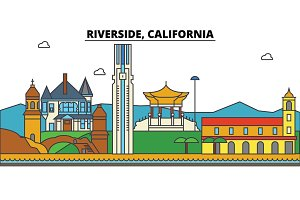 California, Riverside. City skyline architecture, buildings, streets, silhouette, landscape, panorama, landmarks. Editable strokes. Flat design line vector illustration concept. Isolated icons