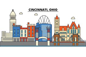 Cincinnati, Ohio. City skyline architecture, buildings, streets, silhouette, landscape, panorama, landmarks. Editable strokes. Flat design line vector illustration concept. Isolated icons