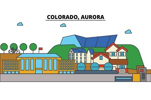 Colorado, Aurora. City skyline architecture, buildings, streets, silhouette, landscape, panorama, landmarks. Editable strokes. Flat design line vector illustration concept. Isolated icons