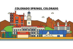 Colorado,Springs. City skyline architecture, buildings, streets, silhouette, landscape, panorama, landmarks. Editable strokes. Flat design line vector illustration concept. Isolated icons