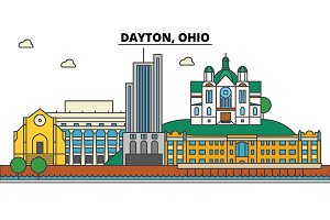 Dayton, Ohio. City skyline architecture, buildings, streets, silhouette, landscape, panorama, landmarks. Editable strokes. Flat design line vector illustration concept. Isolated icons