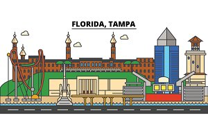 Florida, Tampa. City skyline architecture, buildings, streets, silhouette, landscape, panorama, landmarks. Editable strokes. Flat design line vector illustration concept. Isolated icons