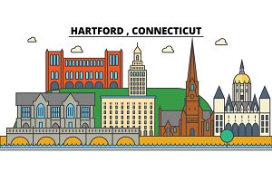 Hartford, Connecticut. City skyline architecture, buildings, streets, silhouette, landscape, panorama, landmarks. Editable strokes. Flat design line vector illustration concept. Isolated icons